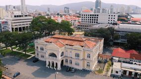 Aerial view of Georgetown Penang, Malaysia stock video