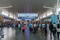 Departure Board in KL International Airport. Departure Hall Mala Stock Photography