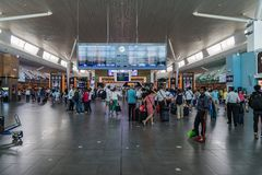 Departure Board in KL International Airport. Departure Hall Mala Royalty Free Stock Image