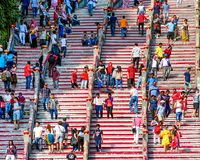 People move up stairs to visit sightseeing, concept of tourism and curiosity. stock photos