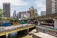 Kuala Lumpur, Malaysia - circa September 2015: Jalan Tun Sambanthan road and bridge over Sungai Kelang river in Kuala Lumpur,  Mal Stock Images