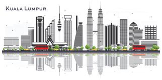 Kuala Lumpur Malaysia City Skyline con Gray Buildings Isolated stock de ilustración