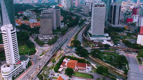 Kuala Lumpur,Malaysia - December 28, 2017: Aerial view of Jalan Raja Laut located in main area of Kuala Lumpur City. Aerial view of Jalan Raja Laut located in stock video