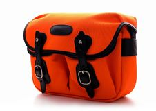 Billingham Hadley small shoulder bag on Neon Orange with black leather trim Royalty Free Stock Image
