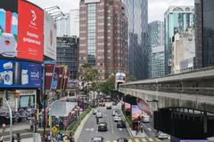 KUALA LUMPUR, MALAYSIA - DECEMBER 31,2017 : Bukit Bintang area is Kuala Lumpur Golden Triangle commercial district.Famous with lux. Ury shopping complex and Royalty Free Stock Image