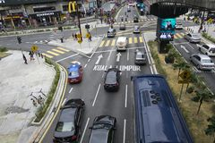 KUALA LUMPUR, MALAYSIA - DECEMBER 31,2017 : Bukit Bintang area is Kuala Lumpur Golden Triangle commercial district. Famous with luxury shopping complex and Royalty Free Stock Photos