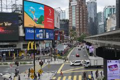 KUALA LUMPUR, MALAYSIA - DECEMBER 31,2017 : Bukit Bintang area is Kuala Lumpur Golden Triangle commercial district. Famous with luxury shopping complex and Stock Photography