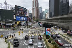 KUALA LUMPUR, MALAYSIA - DECEMBER 31,2017 : Bukit Bintang area is Kuala Lumpur Golden Triangle commercial district. Famous with luxury shopping complex and Royalty Free Stock Photography