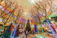 Christmas decoration in The Curve Mall which is located in Mutiara Damansara. People can seen exploring and shopping around it. Royalty Free Stock Photos