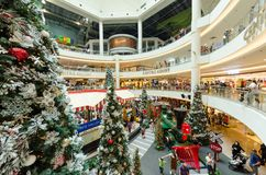 Christmas decoration in Mid Valley Megamall. People can seen exploring and shopping around it. Stock Photography