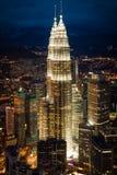 Kuala Lumpur,Malaysia,December 19,2013:KL Petronas Towers at nig Stock Images