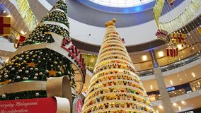 Magical Mickey Tree with 1,000 specially designed Mickey figurines Christmas decoration in Pavilion Kuala Lumpur. stock footage