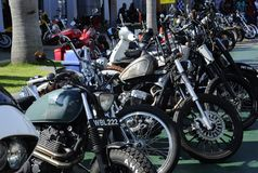 Various model of Harley Davidson easy rider motorcycle parking in the open area. KUALA LUMPUR, MALAYSIA -DECEMBER 16, 2017: Various model of Harley Davidson easy stock photo