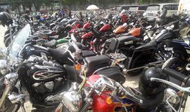 Various model of Harley Davidson easy rider motorcycle parking in the open area. KUALA LUMPUR, MALAYSIA -DECEMBER 16, 2017: Various model of Harley Davidson easy royalty free stock photos