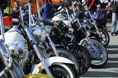 Various model of Harley Davidson easy rider motorcycle parking in the open area stock image