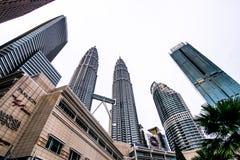 Kuala Lumpur, Malaysia- December 8, 2018: View of the Petronas Twin Towers in Kuala Lumpur, Malaysia royalty free stock photography