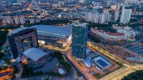 Aerial Video of Federal Territory Mosque. KUALA LUMPUR, MALAYSIA - DICEMBER 4, 2017 : MITEC is the largest exhibition centre in Malaysia.It derives its unique Royalty Free Stock Photography