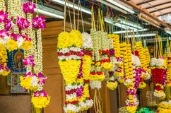 Colorful garlands flower selling in the market stalls in Brickfields Little India in Kuala Lumpur. Kuala Lumpur, Malaysia - Feb 7,2017 : Colorful garlands Royalty Free Stock Photos