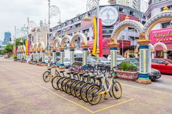 A row of obike are parking in Brickfields Little India in Kuala Lumpur. Royalty Free Stock Photo