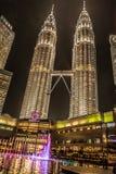 Twin towers Petronas and sky bridge at Mayl 18, 2015, Kuala Lumpur, Malaysia stock photography