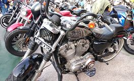 Beautiful American`s made Harley-Davidson easy rider & chopper motorcycle. KUALA LUMPUR, MALAYSIA -FEBRUARY 24, 2018: Beautiful American`s made Harley-Davidson stock photos