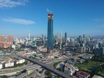 KUALA LUMPUR, MALAYSIA - 4 February 2018: Beautiful and dramatic aerial view of Kuala Lumpur city with new skyscraper under constr Stock Photo