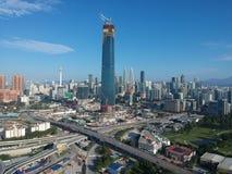 KUALA LUMPUR, MALAYSIA - 4 February 2018: Beautiful and dramatic aerial view of Kuala Lumpur city with new skyscraper under constr Royalty Free Stock Image