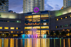 KUALA LUMPUR, MALAYSIA - FEBRUARY 29: Colorful fountain show wit Royalty Free Stock Images