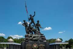 Kuala Lumpur, Malaysia - February 27, 2019: Malaysia`s National Monument 15 meters is identified as the largest. Freestanding bronze sculptures grouping in the stock images