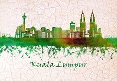 Kuala Lumpur Malaysia horisont royaltyfri illustrationer