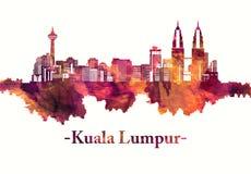 Kuala Lumpur Malaysia horisont i rött royaltyfri illustrationer