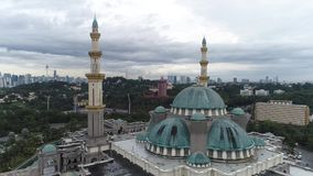 Aerial Video of Federal Territory Mosque. KUALA LUMPUR, MALAYSIA - JANUARY 1, 2017: An aerial shot of the Federal Territory Mosque or Masjid Wilayah in the stock video