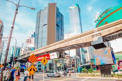 Bukit Bintang shopping street in Kuala Lumpur, Malaysia. Kuala Lumpur, Malaysia - January 7, 2018 : Bukit Bintang shopping street stock image