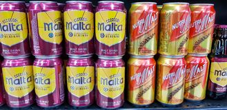 Cans of non-alcohol malt drink. KUALA LUMPUR, MALAYSIA - JANUARY 17, 2018: Cans of non-alcohol malt drink at Mid-Valley Shopping Centre, Kuala Lumpur Royalty Free Stock Images
