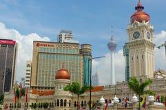 KUALA LUMPUR, MALAYSIA - January 16. 2016: Clock tower of Sultan Abdul Samad building near Merdeka Square Royalty Free Stock Photos