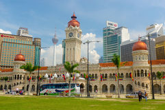 KUALA LUMPUR, MALAYSIA - January16. 2016: Clock tower of Sultan Abdul Samad building near Merdeka Square Stock Photo