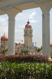 KUALA LUMPUR, MALAYSIA - January16. 2016: Clock tower of Sultan Abdul Samad building near Merdeka Square Royalty Free Stock Photo