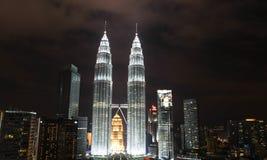 KUALA LUMPUR, MALAYSIA - JANUARY 14: Nightscape of Petronas Twin Towers Stock Photo