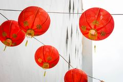 Red Lantern Hanging On A Wall stock photos