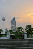Kuala Lumpur, Malaysia - January 16, 2016: view of the KL commucation Tower between palms and plant Stock Image