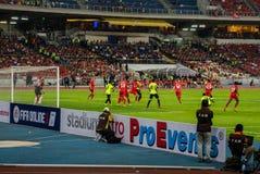 KUALA LUMPUR, MALAYSIA-JULY 24 : Liverpool FC and Malaysia IX in Royalty Free Stock Photo