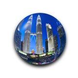 KUALA LUMPUR, MALAYSIA - July 18, 2016: Petronas Twin Towers with Musical fountain at night within the glass blass effect in Kuala. Lumpur, Malaysia vector illustration