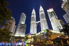 KUALA LUMPUR, MALAYSIA - July 18, 2016: Petronas Twin Towers with Musical fountain at night in Kuala Lumpur, Malaysia Stock Photography