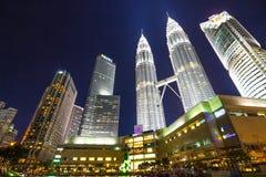 KUALA LUMPUR, MALAYSIA - July 18, 2016: Petronas Twin Towers with Musical fountain at night in Kuala Lumpur, Malaysia Stock Photo