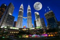 KUALA LUMPUR, MALAYSIA - July 18, 2016: Petronas Twin Towers with Musical fountain at night in Kuala Lumpur, Malaysia Royalty Free Stock Photography