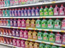 Selected focused on liquid detergent displayed on the rack inside the huge supermarkets. KUALA LUMPUR, MALAYSIA -JULY 12, 2019: Selected focused on liquid stock image