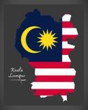 Kuala Lumpur Malaysia map with Malaysian national flag illustrat Stock Photo