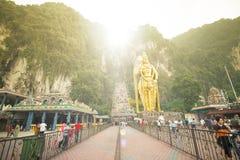 KUALA LUMPUR, MALAYSIA-MAR 21 2015; Golden Hindu statue Muragan Royalty Free Stock Photography