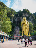 KUALA LUMPUR, MALAYSIA - MAR 1: Tourist and Lord Murugan Statue Stock Photography