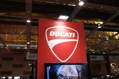 DUCATI emblem and logos at the Ducati motorcycle body. KUALA LUMPUR, MALAYSIA -MARCH 24, 2018: DUCATI emblem and logos at the Ducati motorcycle body. DUCATI is stock image